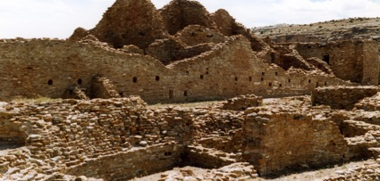 The thick walls of a Chaco Canyon ruin