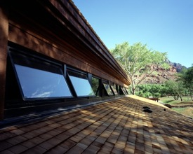 Clerestory windows help in the passive solar design at Zion NP Visitor Center