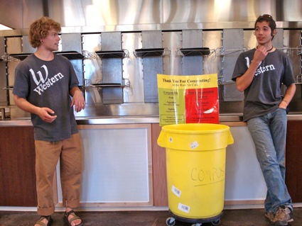 Students at Western State College explaining the composting program