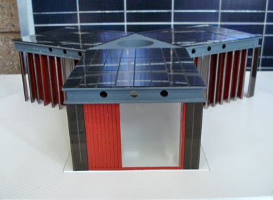 Solar Decathlon 2011 Model from Tongji University, solar panels can be seen on the top of the house