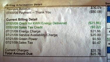 electril bill with solar credit