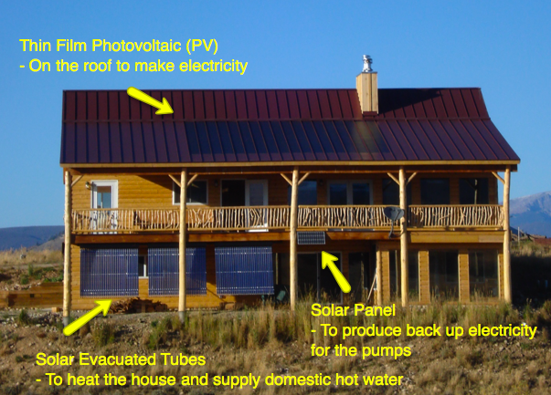 Active solar log home with thin film and solar evacuated for Active solar house plans