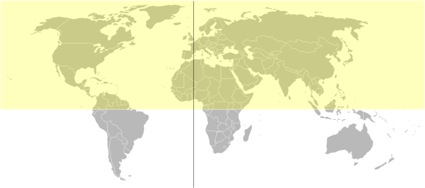 The Northern Hemisphere is highlighted in the graphic of the globe