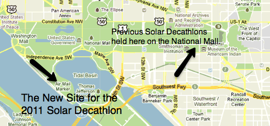Map of the new site for the 2011 Solar Decathlon located at FDR's Memorial and Martin Luther King Jr.'s Memorial