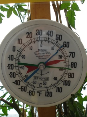 The thermometer in the Earthship show the range of temperatures inside