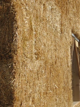 Close up of Straw bale used for building a house