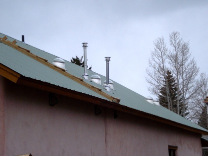 Solar tubes on the roof of a passive solar home