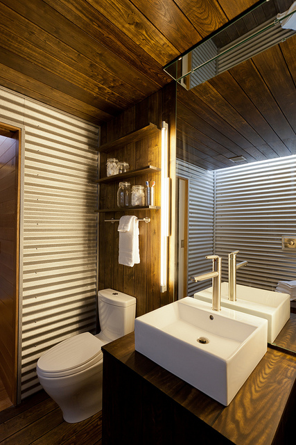 Corregated Metal Bathroom