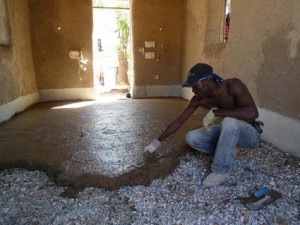 Using strawbale adobe and recycled rubble to rebuild in for Adobe floor