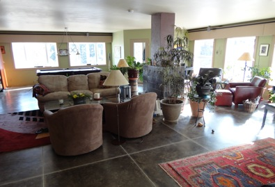 living room in a passive solar home