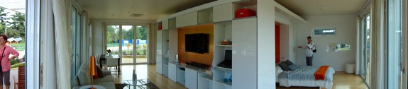 The living room and bedroom areas during the Solar Decathlon