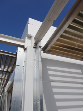 Close up view of the shutters for the home