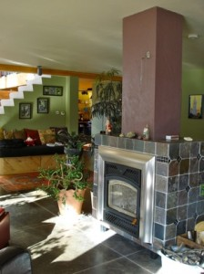 Fireplace in passive solar home