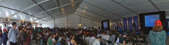 Everyone gathered in the big tent to hear the section winners during the Solar Decathlon.