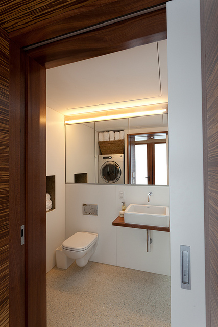 The bathroom in the Solar Roof Pod.