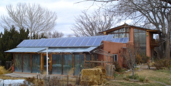 Old adobe active and passive solar house.