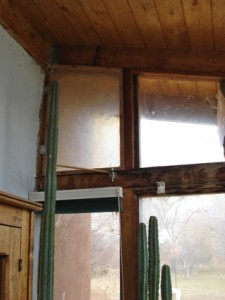 A hinged window can be opened to vent the sunroom.