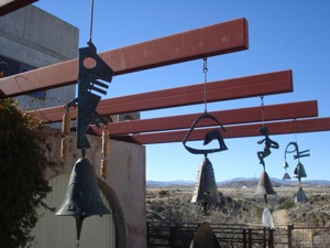 Soleri's bells hanging from outside of the visitor's center.