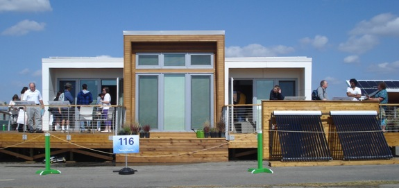 The southern facing side of Team Alberta's Solar Decathlon home.