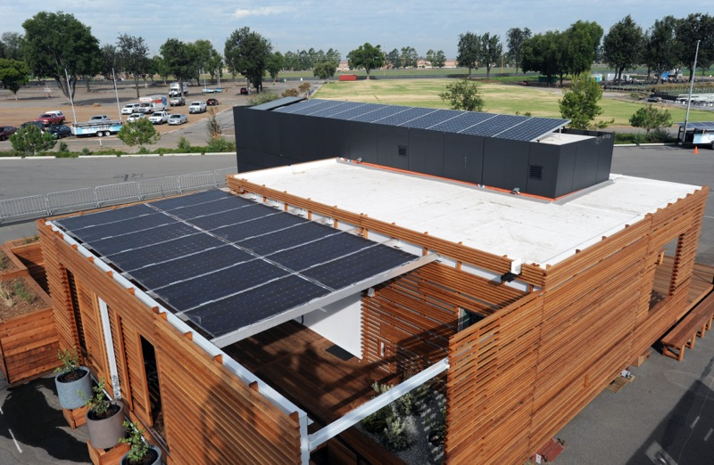 PV arrays for California Polytechnic State University, San Luis Obispo at the U.S. Department of Energy Solar Decathlon 2015 at the Orange County Great Park, Irvine, California (Credit: Thomas Kelsey/U.S. Department of Energy Solar Decathlon)
