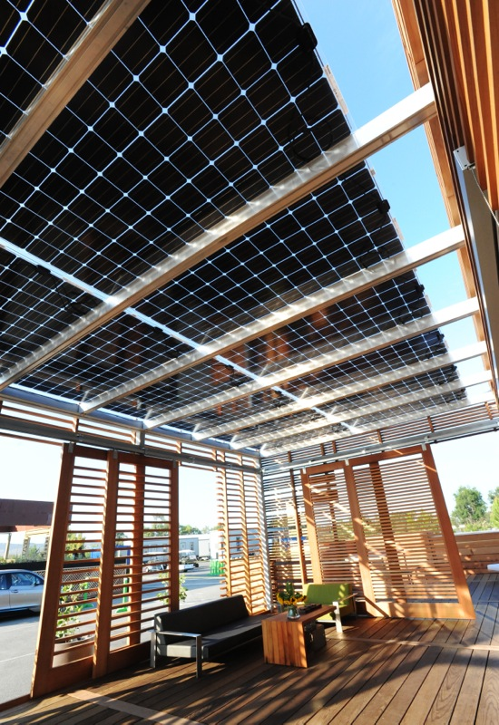 Interior of the California Polytechnic State University, San Luis Obispo house at the U.S. Department of Energy Solar Decathlon 2015 at the Orange County Great Park, Irvine, California (Credit: Thomas Kelsey/U.S. Department of Energy Solar Decathlon)